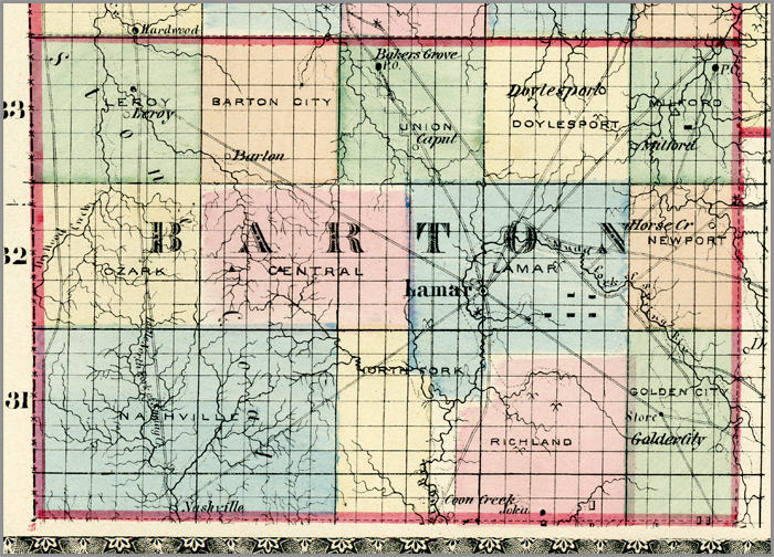 Ozarks Civil War Counties - Missouri map county lines